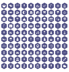 100 childrens parties icons hexagon purple vector image vector image