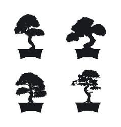 bonsai set black silhouette of bonsai vector image