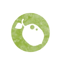 Icon lime with pixel print halftone dots texture vector image