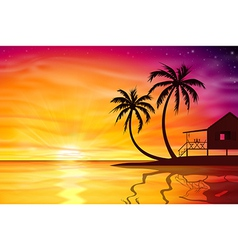 Sunset Sunrise with Beach Nut vector image vector image