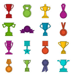 trophy icons doodle set vector image