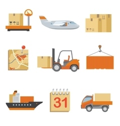 Logistics icons set in vintage flat style vector image