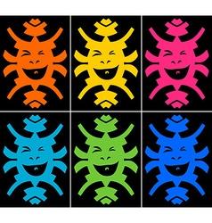 Set of crazy smiling faces on black background vector