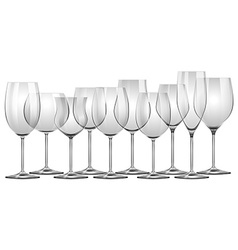 Wine glasses in different sizes vector image