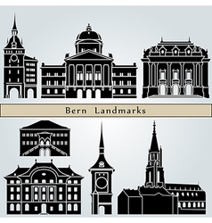 Bern landmarks and monuments vector image vector image