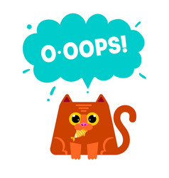 cat eating fis vector image
