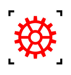gear sign red icon inside black focus vector image