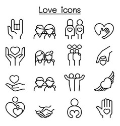 love relationship friend family icon set in thin vector image vector image