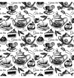 Tea and cake seamless pattern vector image