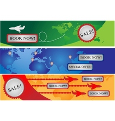 three banners for avia companies vector image