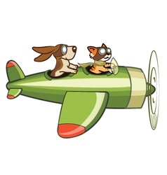 Cat and Dog Flying Plane vector image vector image