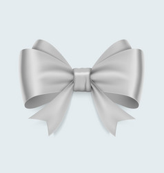 realistic white bow isolated on white background vector image vector image