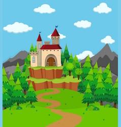 scene with castle tower in the field vector image