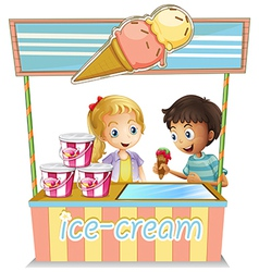 Two young kids at the ice cream stand vector image vector image