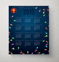 2015 year calender Blue backdrop with garland vector
