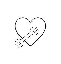 a heart shape with a wrench hand drawn outline vector image