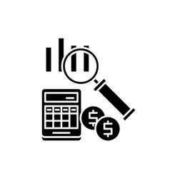 accounting black icon sign on isolated vector image