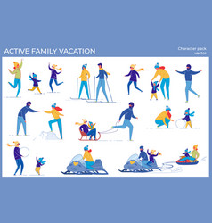 Active family vacation and winter holidays set vector