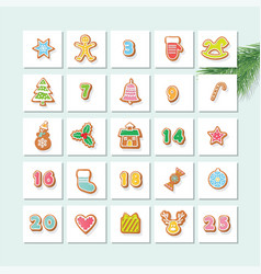 advent calendar decorated wirh gingerbread vector image
