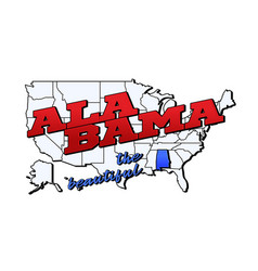 alabama state with us alabama state on american vector image