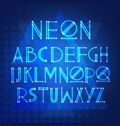alphabet neon letters collection text lettering vector image