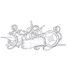 anchor steering wheel and compass tangled with vector image