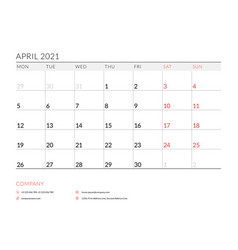 April 2021 monthly calendar planner printable vector