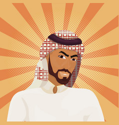 arab business man in traditional clothes over vector image