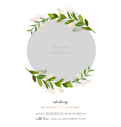 Baby shower greeting card with floral frame vector