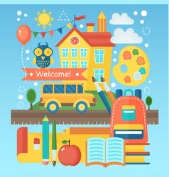 Back to school banner with school building bus vector