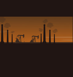 Bad environment with industry pollution scenery vector