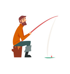 Bearded fisherman character sitting on shore with vector