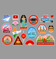 Big set of travel stickers of the asia vector