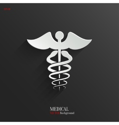 Caduceus Medical Symbol- white app icon vector image