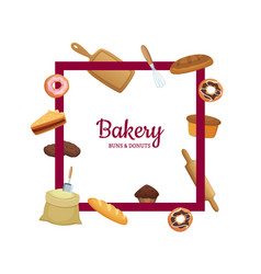 Cartoon bakery frame with place for text vector