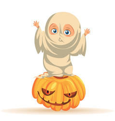 Cartoon child in halloween dresses flat poster vector