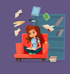 cartoon girl student reading books vector image