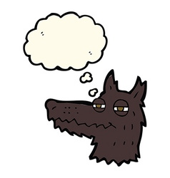 Cartoon smug wolf face with thought bubble vector