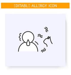 Cat allergy line icon editable vector