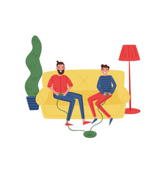 cheerful father and son playing video game at home vector image