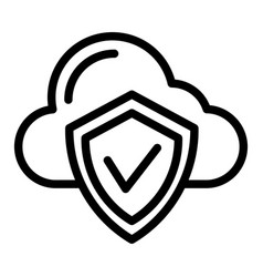 cloud protection line icon cloud with shield vector image