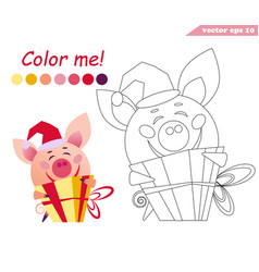 Coloring book with a ig holding present vector