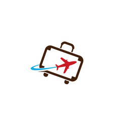 Creative suitcase travel airplane symbol creative vector