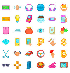 Currency icons set cartoon style vector