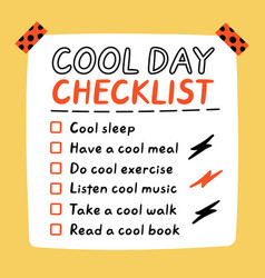 Cute funny cool day self-care to do list vector
