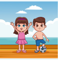 cute kids at beach cartoon vector image