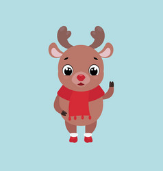 cute smiling deer waving hand vector image