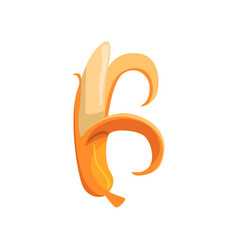 Decorative letter b made of peeled banana cartoon vector