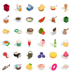 Delicatessen icons set isometric style vector