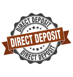 Direct deposit stamp sign seal vector